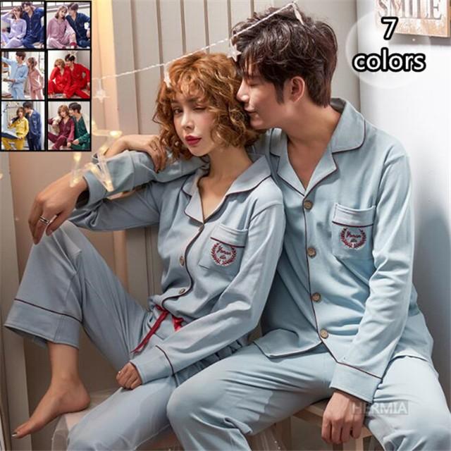 パジャマ カップル ペアルック パジャマ 綿100% ...