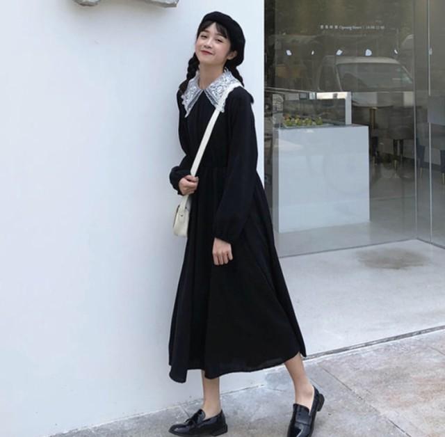 フリル襟 ワンピース 黒 レディース きれいめ ワ...