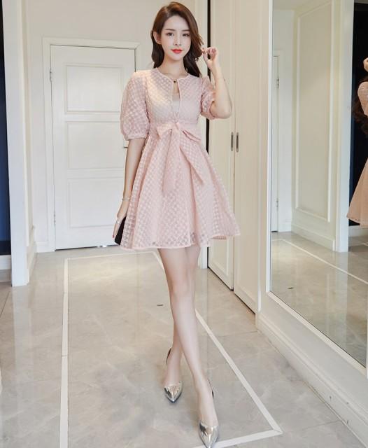 137e8fbc8de1e ワンピース ドレス ポリエステル ひざ丈 半袖 20代 ピンク 透け感 ラウンドネック バルーン袖 レディース