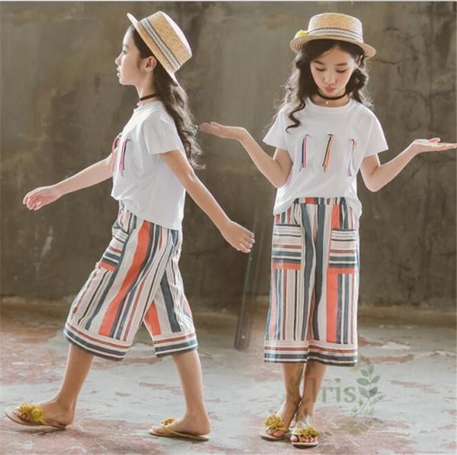 4364b61cd24e2 子供服 女の子 セットアップ 夏 半袖Tシャツ ガウチョパンツ 2点セット 上下セット ワイド