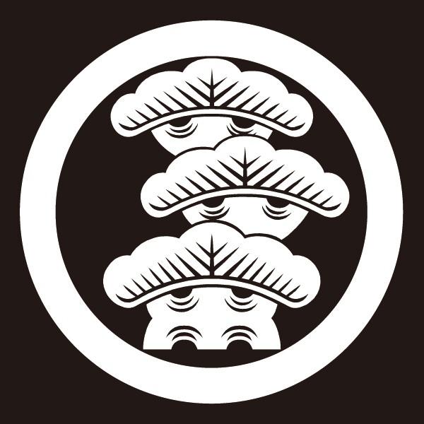 貼り紋 丸に右三階松(シールタイプ6枚1組) =...