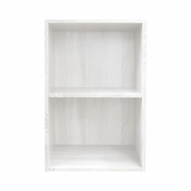 カラーボックス2段 ホワイト木目調 収納