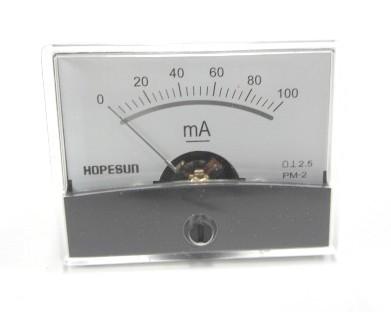 アナログDC電流パネルメーター100mA-60×47mm