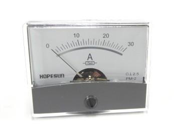 アナログDC電流パネルメーター30A-60×47mm