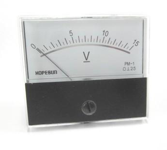 アナログDC電圧パネルメーター15VDC-70×60mm