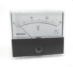 アナログDC電圧パネルメーター30VDC-70×60mm