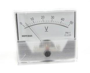 アナログDC電圧パネルメーター50VDC-70×60mm