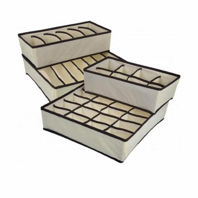 収納ボックス 引き出し仕切り 仕切りケース 収納ケース 下着 靴下 パンツ ブラジャー 収納 セット (ベージュ-4点セット-折り畳み可能)