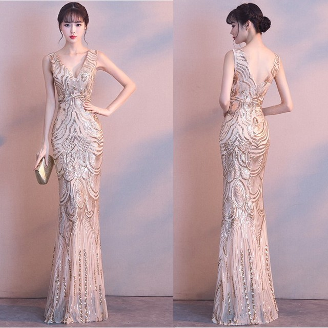大きいサイズ ロングドレス マーメイドライン パ...