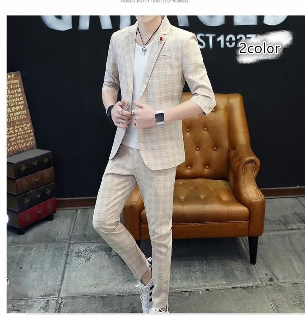 新作 チェック柄スーツ メンズ 夏サマースーツ 上...