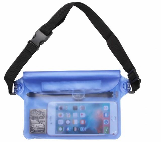 HY-00479防水ポーチ 防水ケース 3重チャック PVC素材 海水浴 プール 釣り バイク ウエストバッグ 防水パック 携帯