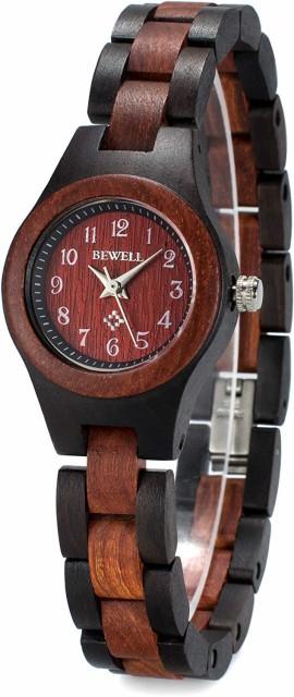 KA-00415 木製腕時計 レディース 日本製クオーツ 軽量 天然木 腕時計 ファッション 人気 女性 ブレスレット 母の日 ギフト 贈り物(黒檀と