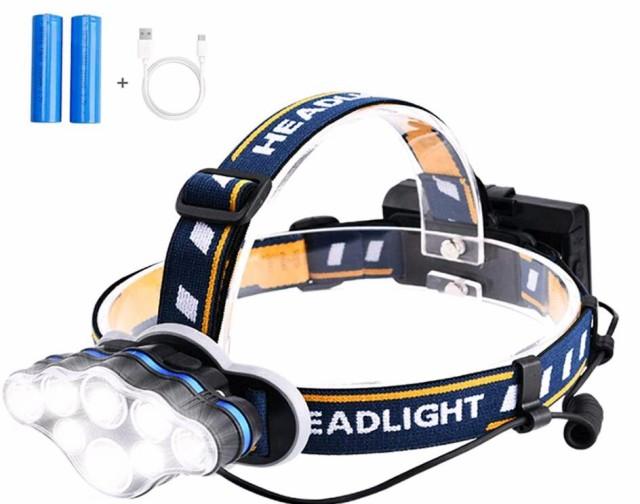 YQ-01106  8つLED ヘッドライト USB充電式 ヘッド...