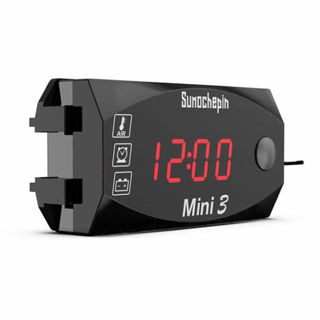 バイク用デジタルメーター 電圧計/温度計/時計 3i...