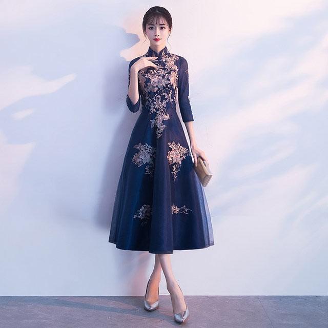 【送料無料】 チャイナドレス 刺繍 ロング丈 パー...