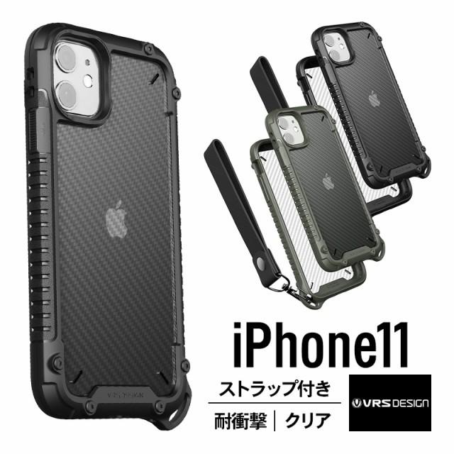 iPhone11 ケース 耐衝撃 クリア ストラップ 付き ...