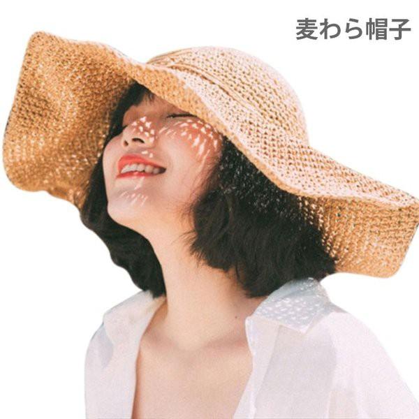 麦わら帽子 レディース つば広帽子 ハット つば広...