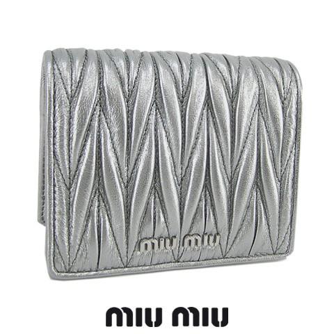 ミュウミュウ/MIU MIU レディース  2つ折り財布 MATELASSE 5MV204 N88 シルバー/CROMO/F0135