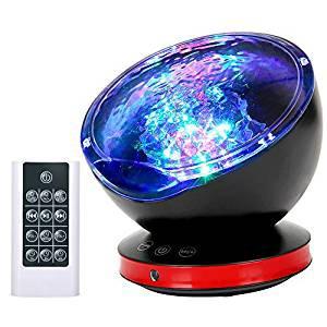 プロジェクターライト スピーカータイマー付  ベッドサイドランプ 投影ランプ  催眠投影プレーヤー音量/輝度/角度調整可 USB給電 波の音