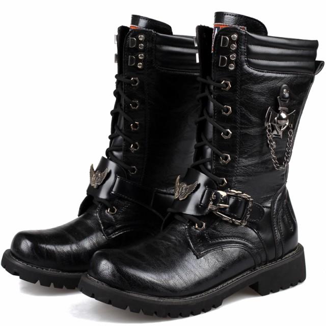 ブーツ メンズ 革靴 ロングブーツ エンジニアブー...