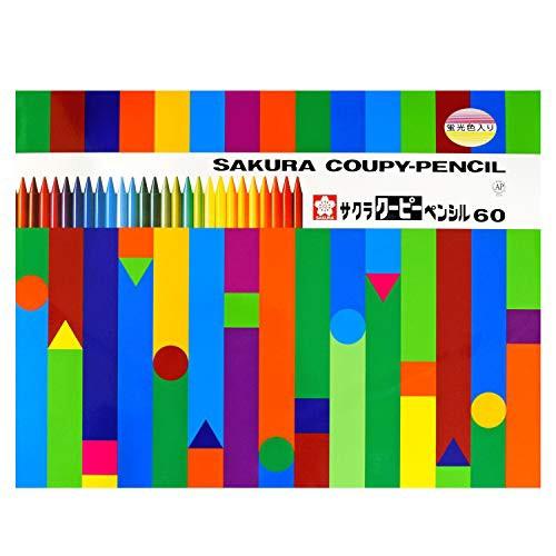 サクラクレパス 色鉛筆 クーピー 60色 缶ケース入...