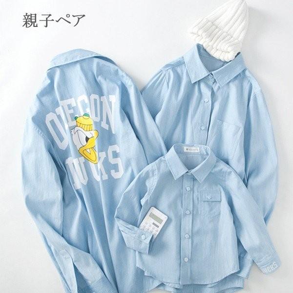 親子ペアルック 長袖シャツ キャラクター柄シャツ...
