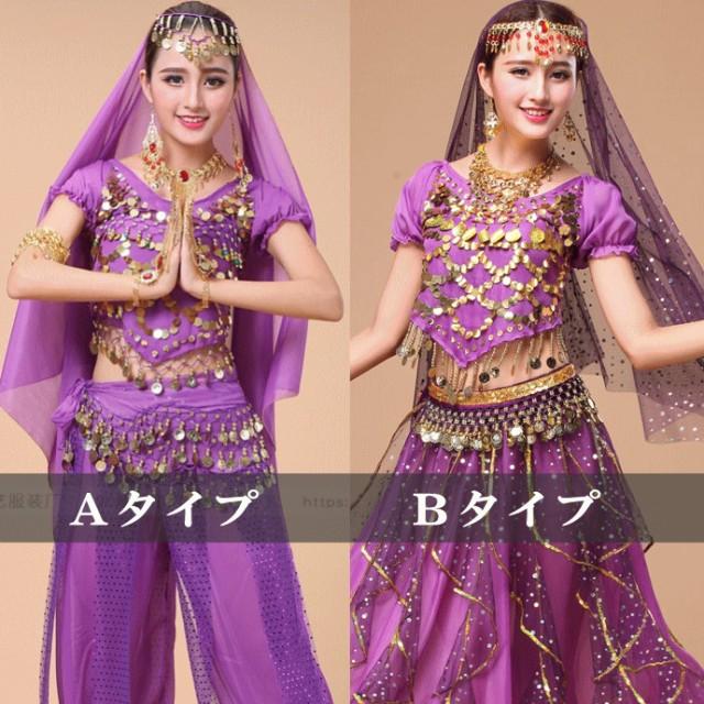 パープル 紫 半袖 トップス ベリーダンス衣装 半...