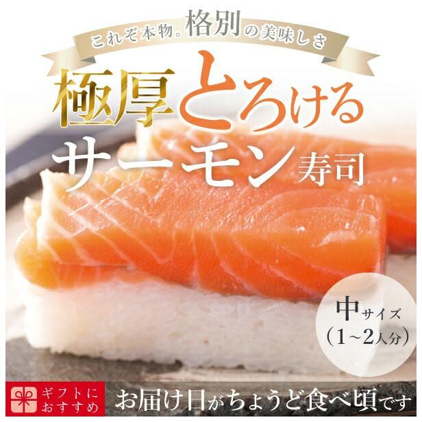 [冷蔵]極上 サーモン寿司を福井から【中サイズ】届いたその日が旬の味わい [生鯖寿司お取り寄せの萩]