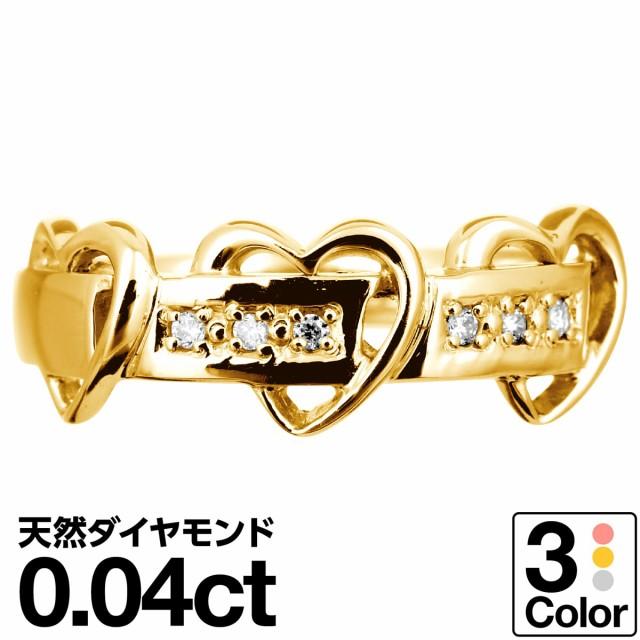 ハート ダイヤモンド リング k18 イエローゴール...