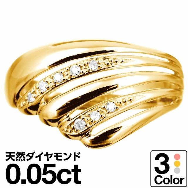 ダイヤモンド リング k10 イエローゴールド/ホワ...