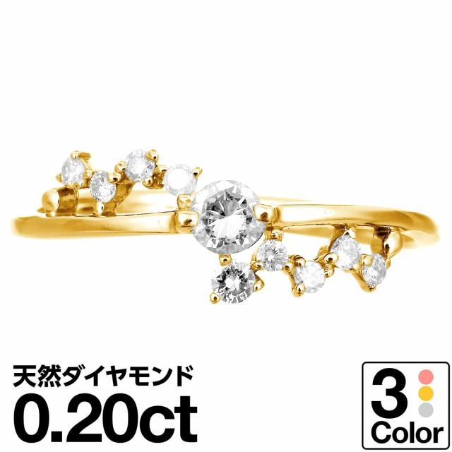 ピンクゴールド ダイヤモンド リング k10 イエロ...