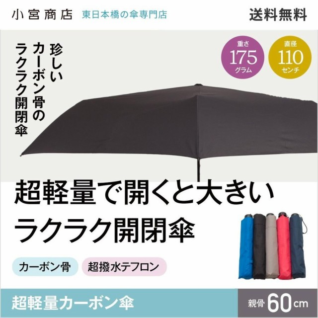 折りたたみ傘 メンズ 超軽量 カーボン コンパクト 60cm 楽々開閉 メンズ レディース 超撥水 テフロン 軽い 小宮商店