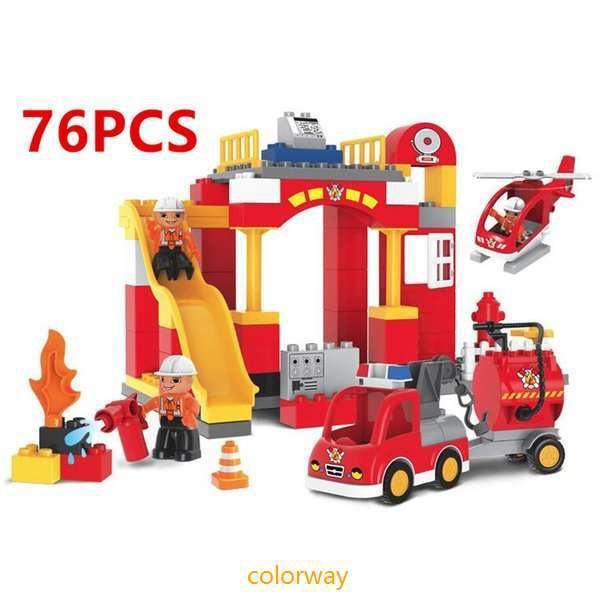 ブロック おもちゃ 消防署 消防車 消防士 LEGO Du...