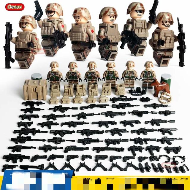 ミニフィグ 世界大戦 砂漠兵 6体セット 武器 付...