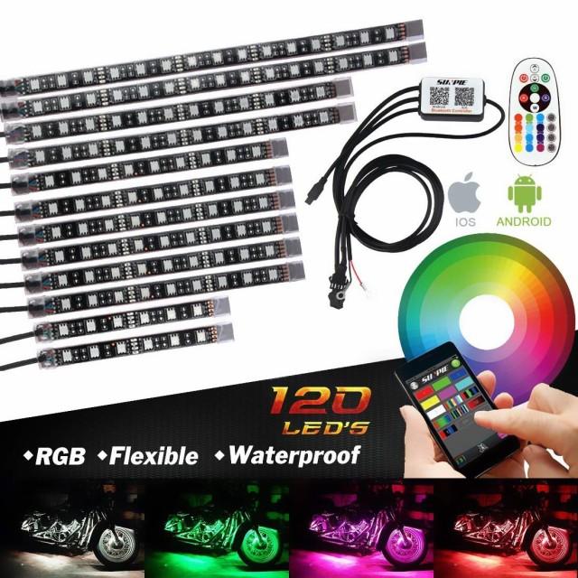 バイク用 RGB フルカラー LEDテープライト 12本 ...