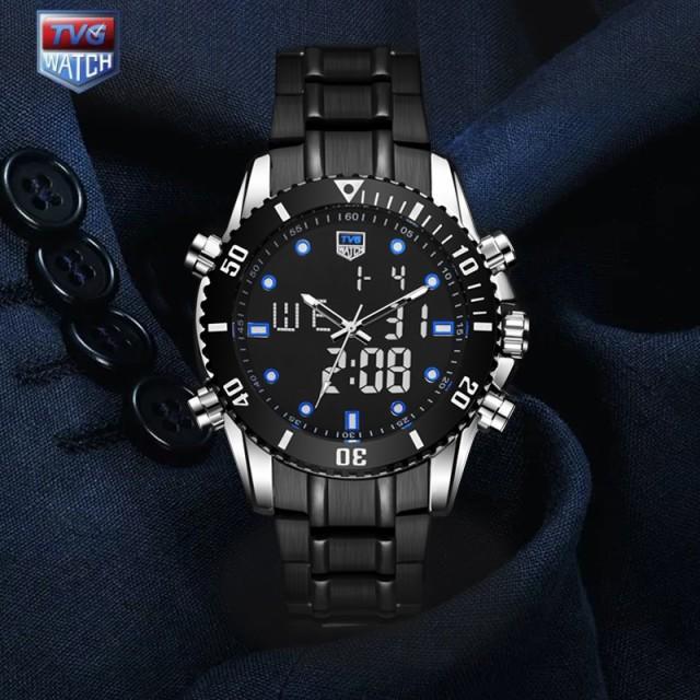 TVG メンズ腕時計 クォーツ デュアルディスプレイ...