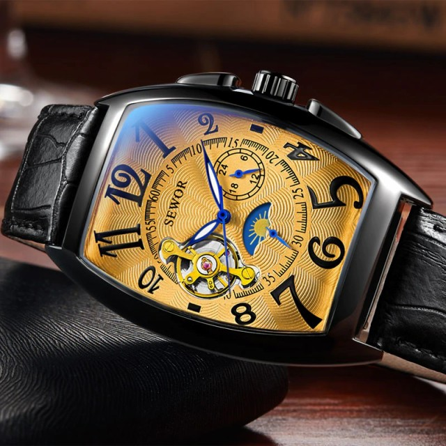 SEWOR メンズ腕時計 機械式 自動巻き トノー ムー...