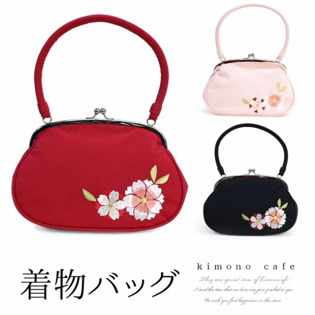 成人式 振袖 バッグ 単品 八重桜 刺繍 がま口 赤 ...