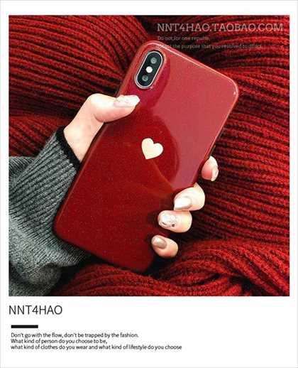iPhoneケース 赤 ハート お洒落 キラキラ 反射...