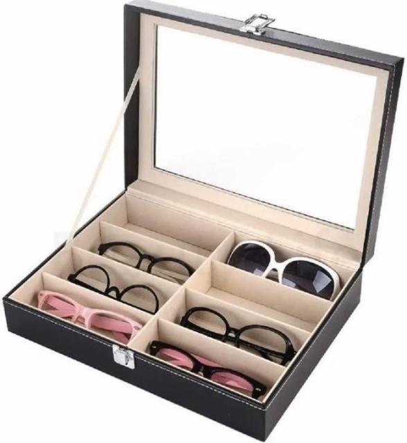 メガネ コレクション ケース 収納ボックス 黒 眼...