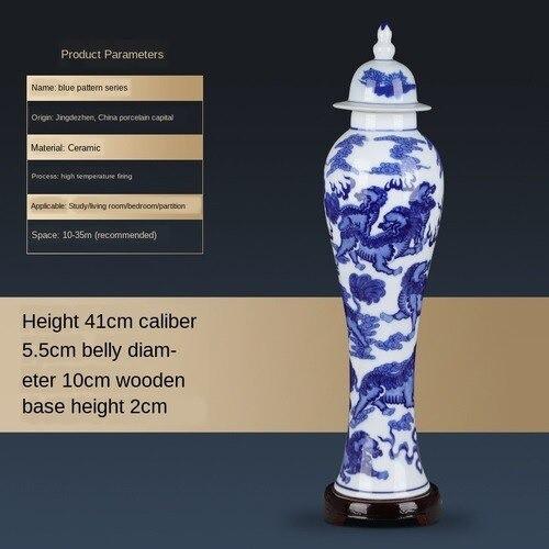 青 白 磁器 花瓶 セラミック 家の装飾 蓋 41cm 細...