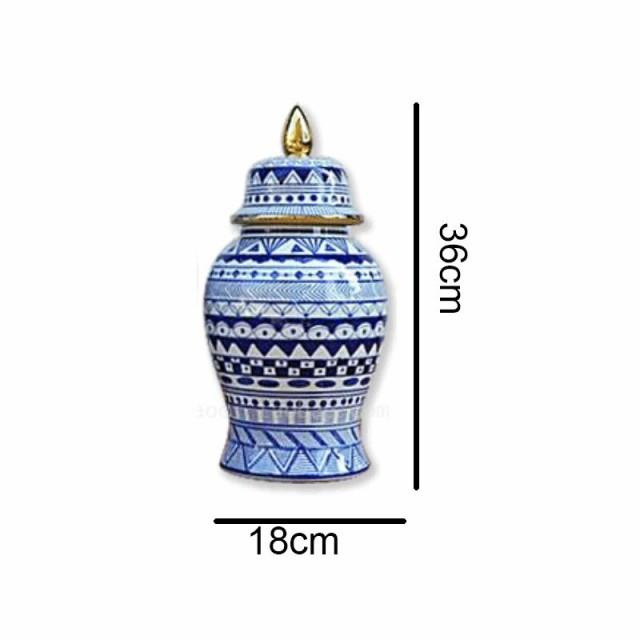 青 白 磁器 花瓶 セラミック 家の装飾 蓋 36cm