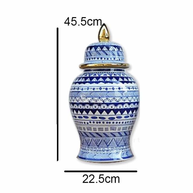 青 白 磁器 花瓶 セラミック 家の装飾 蓋 45.5cm