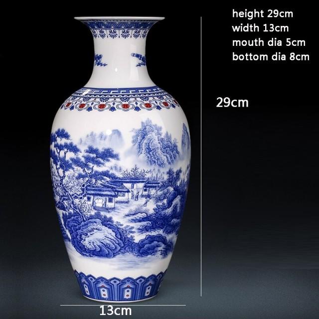 青 白 磁器 花瓶 セラミック 家の装飾 29cm