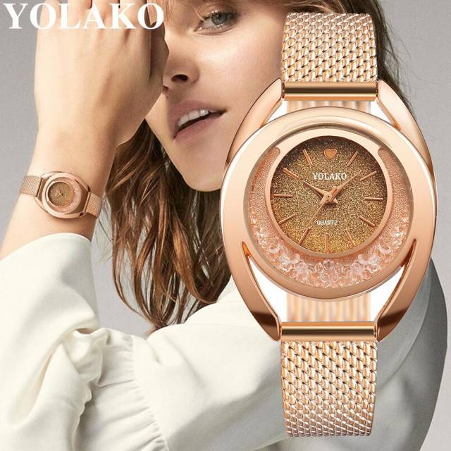YOLAKO 女性 腕時計 ブレスレット クォーツ 時計 ...
