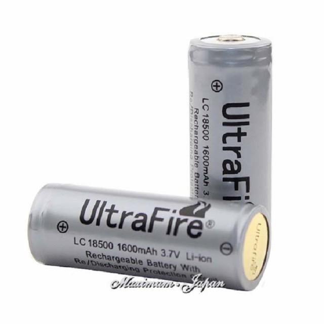 正規品 UltraFire 保護付き18500 リチウムイオン ...