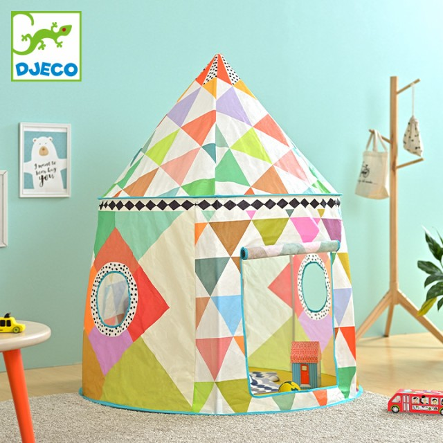 [CEマーク認定/屋内専用] DJECO(ジェコ) カラフルテント 小窓付き 対象年齢3歳〜 ベビー用品 赤ちゃん ベビー 子ども キッズ 北欧風 テン