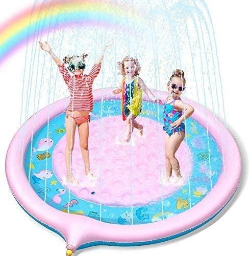 Lenbest 噴水マット プレイマット 噴水プール 170CM直径 ビニールプール おもちゃプレイマット 夏の日 子供用 水遊び 親子遊び 家庭用 ア