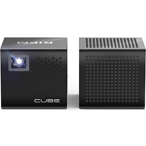 超小型 レーザープロジェクター Bluetoothスピーカー、三脚、リモコン付き RIF6キューブフルLEDミニ 内蔵スピーカー、スマートフォン、ラ