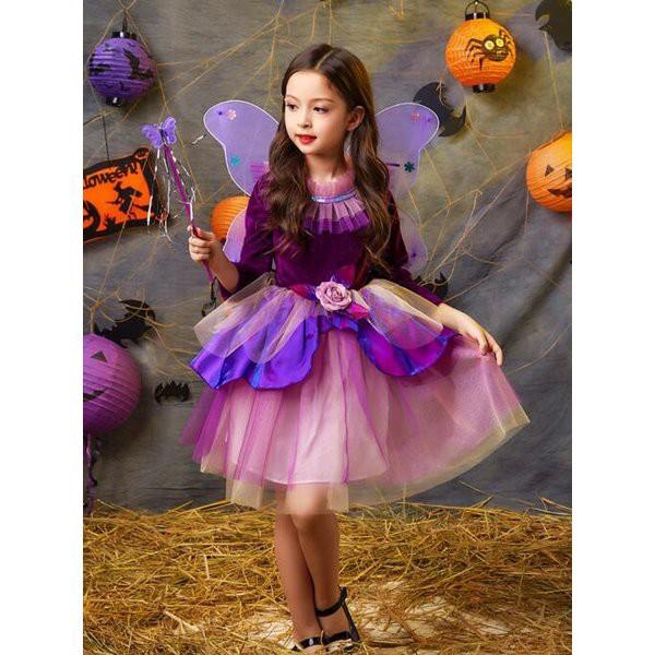 ハロウィン衣装 キッズ コスチューム 仮装 女の子 ドレス 長袖 ワンピース 魔女 精霊 妖精 お姫様 ダンス衣装 魔法使い 子供 キャラクタ